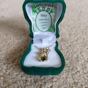 Vintage 80's Emerald Teddy Bear Birthstone Necklac